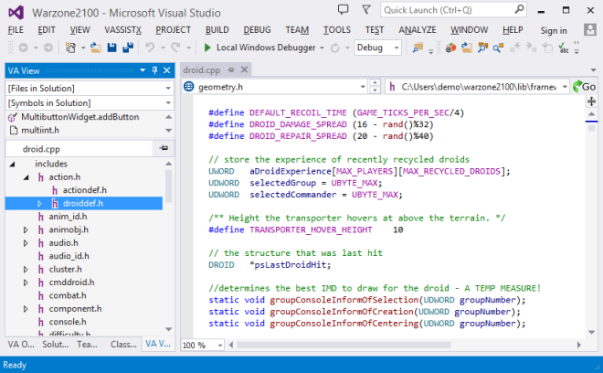 New #include hierarchy of Visual Assist in Visual Studio 2013