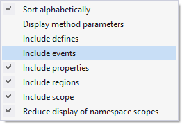 Context menu of List of Methods