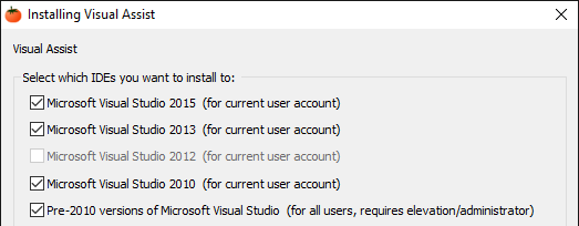 Visual Assist install dialog