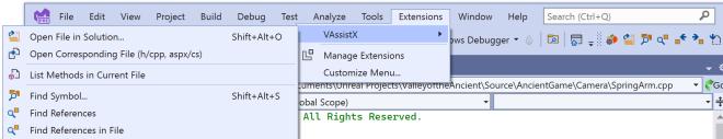 VAssistX menu open in the Visual Studio 2022 Extensions menu